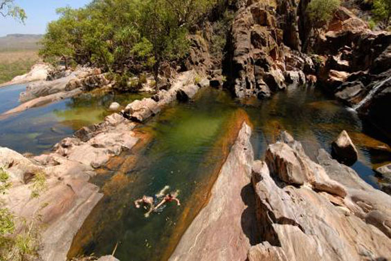 Top of Gunlom Falls in the Gunlom Rock pools swimming Credits Adventure  Tours